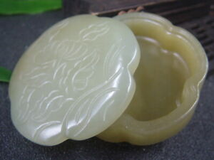 Antique Chinese Nephrite Celadon Hetian OLD Jade Jewelry box Statue QING Dy