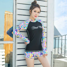 Women's Rash Guard Long Sleeve With Shorts Two Piece Surfing Sports Swimsuit 499