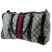 GUCCI GG Supreme Vintage Web Boston Hand Bag Navy PVC Leather Authentic #C435 I