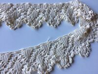 Antique Lace Knit Scalloped Edging Salvage Sample Sewing Prim