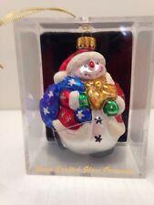Unique Treasures Hand Crafted Glass Snowman Ornament