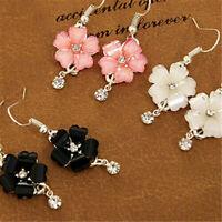 New Flower Petals Rhinestone Dangle Drop Hook Cute Earrings Women Jewelry New