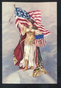 AMERICAN VIEW COMPANY ADVERTISING LADY LIBERTY PATRIOTIC POSTCARD COPY