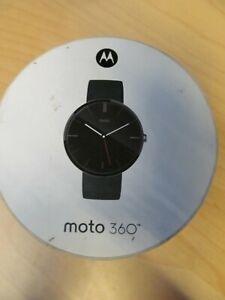 Motorola Moto 360 46mm Black Stainless Steel Case Leather Black Classic Buckle -