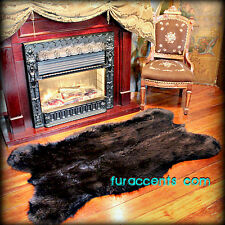 FUR ACCENTS Black Bear Area Rug Faux Fur Bearskin Throw 3' x 5'
