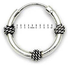 Da Uomo Argento Sterling 925 stile Bali Hoop / traversina 11 mm x 1 singolo Orecchino