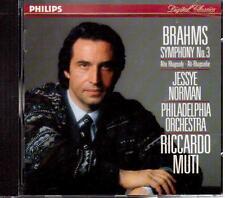 Brahms: Sinfonia No 3, Rapsodia Per Contralto / Muti, Norman, Philadelphia - CD
