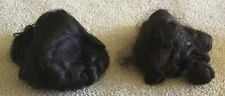Pair of Vintage Doll Wigs Dark Brown Princess & Other W/Bangs Size 9
