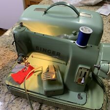 Vintage Singer Sewing Machine W/case 185k Green With Original Foot Pedal Read!