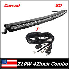 "42"" 210W CREE CURVED LED LIGHT BAR SINGLE ROW SLIM COMBO OFFROAD 4WD & WIRING"