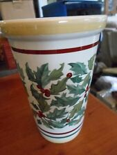 2001 Longaberger Pottery Large Christmas American Holly Berry Vase