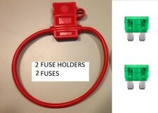(2) 10 GAUGE ATC FUSE HOLDER With COVER + (2) 30 AMP FUSES IN-LINE 10 GA. USA