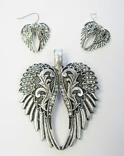 Silver Crystal Angel Wings Magnetic Slide Charm Necklace Pendant Earrings Set