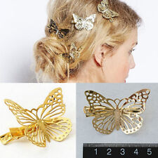 1X Women Golden 3D Lifelike Butterfly Barrette Hair Clip Hairpin Wedding Jewelry