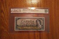 1954 $20 Dollar Bank of Canada Banknote BW6385430 BCS 30