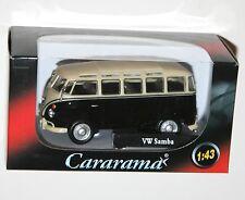 Cararama-VW Volkswagen Samba Bus (Noir/Blanc) Modèle Échelle 1:43