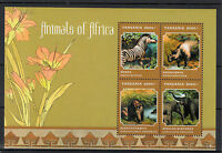 Tanzania 2013 MNH Animals of Africa 4v M/S Wildlife Wild Zebra Rhino Elephant