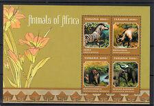 Tanzania 2013 MNH Animals of Africa 4v M/S Wildlife Wild Zebra Rhino Elephant