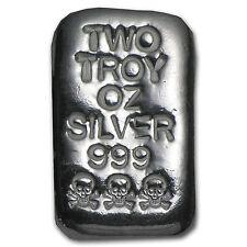 2 oz Skull & Bones Silver Bar - Atlantis Mint - SKU #82444
