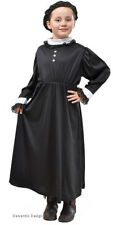 GIRLS VICTORIAN EDWARDIAN LADY QUEEN BLACK FANCY DRESS UP COSTUME OUTFIT NEW 6-9