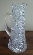 "Antique Vintage American  Crystal Cut Water Pitcher 11"" Tankard STARS NR"