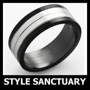 Black & Silver Ring Mens Ladies Womens Boys Girls Wedding Engagement Jewellery