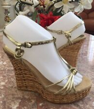 1e18783ea561 New Colin Stuart Gold Patent Leather Woven Wedge Heel Sandals Shoes Size 7B