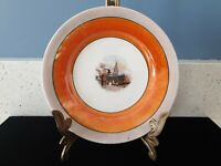 Antique Vintage Plate Ship Lobster Boat Orange Opalescent Iridescent Carnival 6""