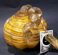 Handblown Art Glass Pumpkin Orange White Glitter Swirl 5'' Autumn Fall Decor
