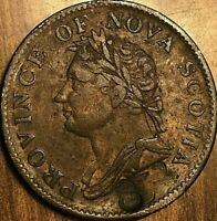 1832 NOVA SCOTIA HALF PENNY TOKEN COIN - Counterstamped