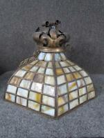 ANTIQUE ARTS & CRAFTS HANGING LEADED LAMP SHADE, CROWN TOP, ATTR. TO HANDEL