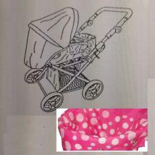 Dolls 2 in 1 Pramette Pink Dots Pushchair/Pram Adjustable Handle NEW