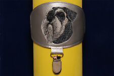 Schnauzer arm band ring number holder with clip. For dog shows.