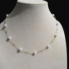 Classic White Akoya Sea Cultured Pearl Necklace 18K Yellow Gold 5.5-6MM Jewelry