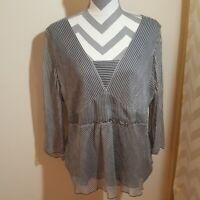 Nine West Womens Black White Pin Stripe Blouse Shirt Top Size 16 Tunic 3/4 Seda