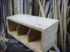 UNIVERSAL HAND MADE CHICKEN  3 BIRD NEST BOX FOR INSIDE COOP HUT HOUSE