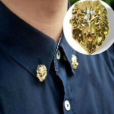 Gold Tone Cool Relief Lion Head Men/Women Shirt Suit Collar Pin Badge Brooches