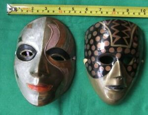 Two Brass Decorative Wall Hanging Theatrical Masquerade Masks