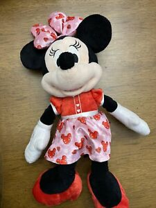 """Disney Minnie Mouse 15"""" Plush Red & Pink Dress/ Bow- Valentines Day"""