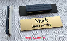 """Custom Employee Name Tag - Badge matte gold, magnet attachment 2.75"""" x .75"""""""