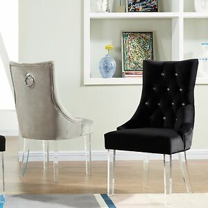 """Cavalli"" Acrylic Legs Velvet Accent Chair with Diamond Tufting in 2 Colours"