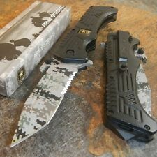 ARMY Spring Assisted Opening SNOW CAMO Tactical Folding Pocket Knife Blade NEW