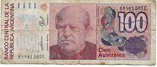 Billete de 100 Australes República de Argentina