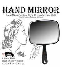 NEW RECTANGLE BLACK HAND HELD MIRROR SALON STYLE VANITY PROFESSIONAL MAKEUP TOOL