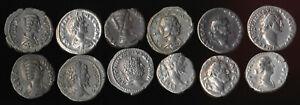 12 ANCIENT ROMAN SILVER DENARIUS COINS (AUTHENTIC > NICE LOT!!) YOU ID > NO RSRV