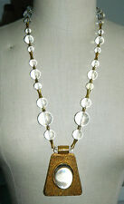 Vtg POOLS of LIGHT Clear Lucite Bead Necklace w/HUGE Magnifying Gold Pendant 32""