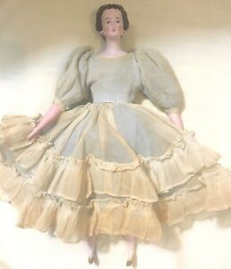 Antique Bisque Girl Doll with Fabric Body - Waterfall Molded Hair - 11 Inches