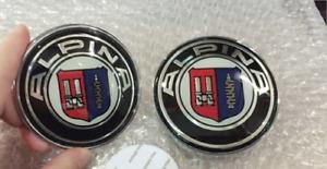 For Alpina 2x82mm 2 Pin Emblem Badge Bonnet Rear Front Hood Logo Auto