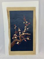 Vintage Silk Asian Oriental Wall Art Textile Embroidery Cherry Blossoms