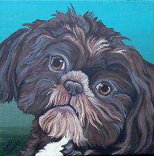 Shih Tzu Brown Dog Pet Art Original 10 x 10 Canvas Painting-Carla Smale